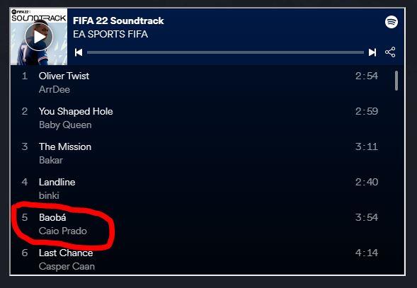 FIFA 22: Caio Prado é confirmado na trilha sonora do VOLTA 1
